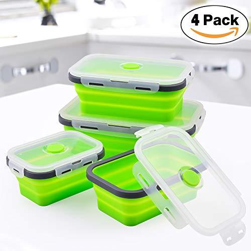 Jolvvn scatola bento pieghevole, ciotola portapranzo silicone lunch box ermetico porta pranzo scuola cibo contenitori sigillata coperchi microonde, lavastoviglie, frigorifero -set di 4pezzi