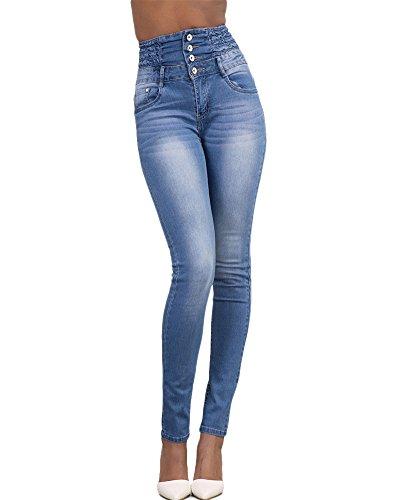 Mujer Pantalones Vaquero Skinny Push Up Pantalones Elástico Jeans Cintura Alta Azul Claro XXL