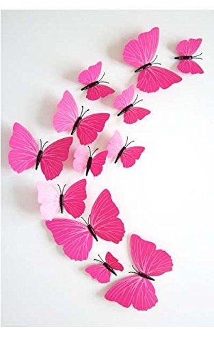 Diawell 12er Set 3D Schmetterlinge Wandtattoo Wandsticker Wanddeko Dekoration Butterfly Wandtatoo Wandaufkleber