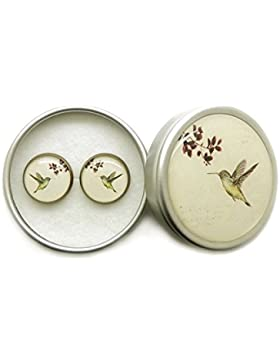 Handgemachter Damen Ohrstecker Vintage Kupfer Ohrringe 14mm Cabochon Ohrschmuck, Nickel und Bleifreier