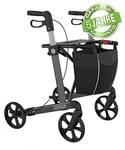 Rehasense Leichtgewicht Rollator Server grau für Senioren mit abnehmbarer Einkaufstasche, bequemen...
