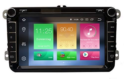AV8V4-PRO Android 8.0 8 Zoll Bildschirm VW Autoradio mit Navigation 2 DIN Bluetooth 4 DAB Digitalradio 8 Core IPS Display USB Mirrorlink GPS CAM Canbus Sygic Verkehrsinfo für SEAT Skoda Volkswagen