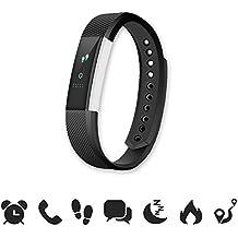 endubro W33/ID115 - Pulsera Fitness / Fitness Tracker / Smart Bracelet / reloj inteligente con pantalla OLED y Bluetooth 4.0 para Android y iOS - Podómetro, Seguimiento del Sueño, notificaciones llamadas/SMS y WhatsApp/Facebook con Android y iOS (Negro)