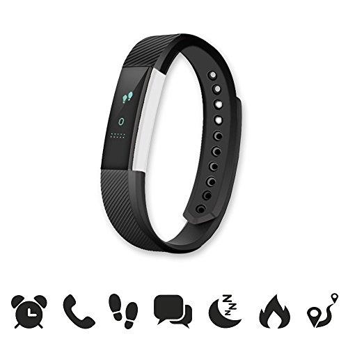 endubro W33/ID115 Fitness Armband - fitness tracker - smart bracelet - Smartwatch für Android Smartphone und iPhone, Schrittzähler, Push-Message und Anrufer - ID Benachrichtigung (Schwarz)