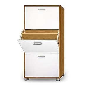 Shoe Storage Cabinet Cupboard Rack Beech White or Black Organiser 56x35centimeter 3 Door Pull Down Drawers