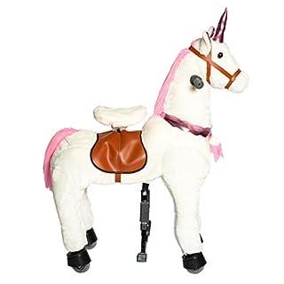 Galoppo Einhorn auf Rollen Geschenk für Mädchen und Jungen ab 3 Jahren als rollendes Schaukelpferd zum indoor und outdoor Reiten magisches Unicorn Kuscheltier Spielzeug - Weiß Pink - Medium