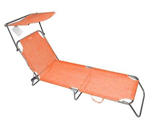 Vetrineinrete® lettino da spiaggia schienale regolabile con tettuccio parasole in textilene per mare piscina campeggio sdraio richiudibile e portatile (arancione) a48
