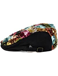 LOCOMO Colorful Multicolor Sequin Glitter Newsboy Beret Cap Hat FFH037