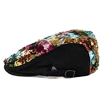 LOCOMO Colorful Multicolor Sequin Glitter Newsboy Beret Cap Hat White FFH037WHT