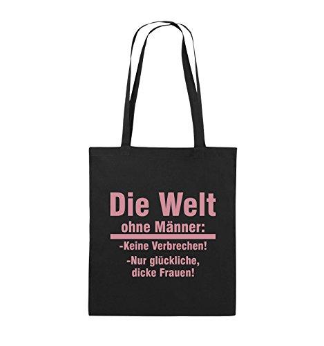 Comedy Bags - Die Welt ohne Männer - keine Verbrechen nur dicke Frauen - Jutebeutel - lange Henkel - 38x42cm - Farbe: Schwarz / Silber Schwarz / Rosa