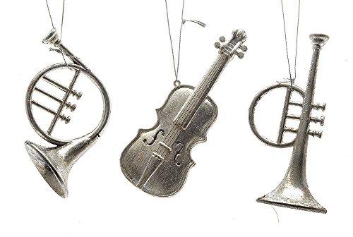 Christbaumschmuck Instrumente Silber 3 Stück Trompete Geige Horn Musik Glitzer