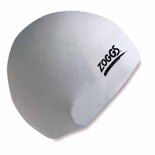 Zoggs - gorro de natación de silicona, Unisex adulto, Silicone Cap, Bianco, Large