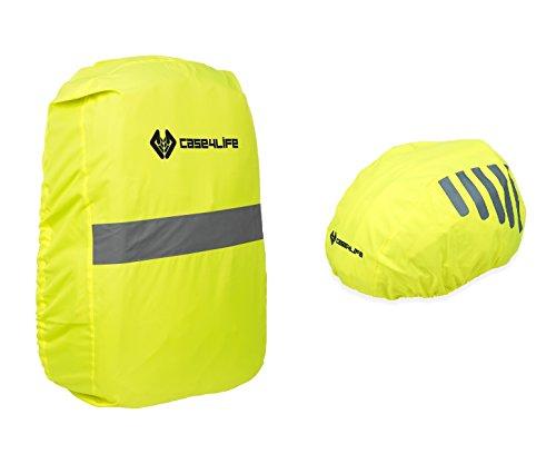 Case4Life Gelb Wasserdicht Hohe Sichtbarkeit Reflektierend Fahrräder Helmabdeckung + Rucksack-Abdeckung - Lebenslange Garantie