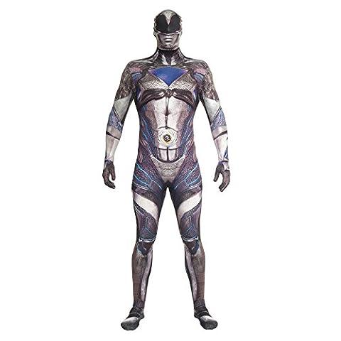 Morphsuits MLPRMDBKL - Offizielles Deluxe Film Power Ranger Kostüm - Größe Large - 5'5-5'9, 163 cm-175 cm, (Schwarz Mighty Morphin Power Rangers Kostüm)