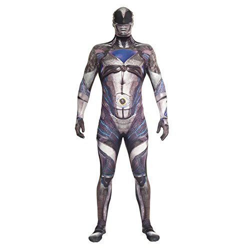 Morphsuits MLPRMDBKM - Offizielles Deluxe Film Power Ranger Kostüm - Größe Medium - 5'-5'4, 150 cm-162 cm, schwarz (Power Ranger Halloween)