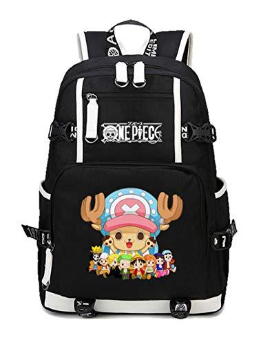 Cosstars One Piece Tony Tony Chopper Anime Backpack Student Schultasche Laptop Rucksäcke Freizeittasche Reiserucksack Daypack Schwarz-2