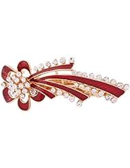 sourcing map Frauen Metall Blume Design Faux Strasssteine Intarsien Haarspange Haarnadel Rot DE de
