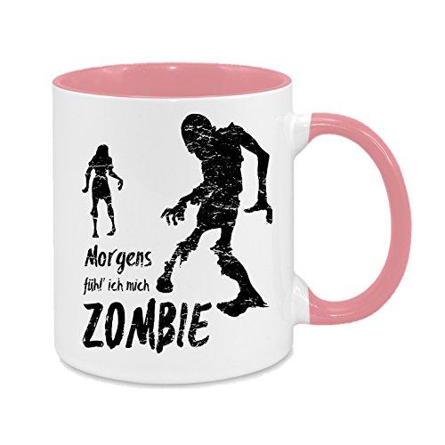Morgens fühl' ich Mich Zombie - Hochwertiger Keramik-Kaffeebecher - Cups by t? - Kaffeetasse - Spruchtasse - Tasse mit Spruch - Geschenk