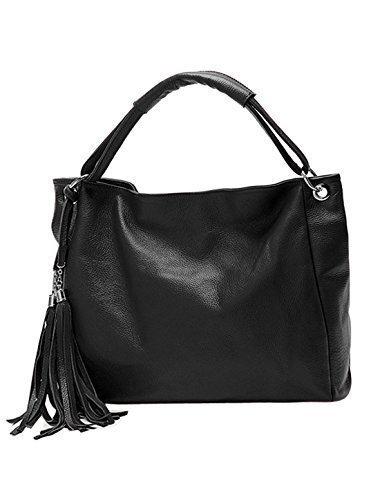 allegra-k-femme-pompons-decore-texture-cuir-synthetique-sac-besace-noir-taille-unique