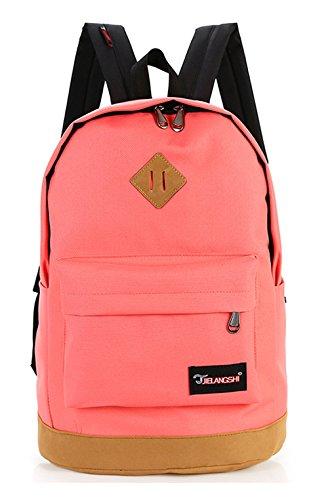 Keshi Nylon Cool Schulrucksäcke/Rucksack Damen/Mädchen Vintage Schule Rucksäcke mit Moderner Streifen für Teens Jungen Studenten Pink