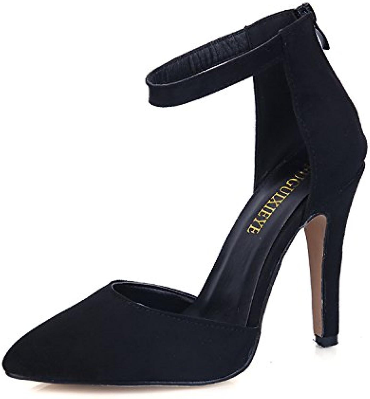 chaussures Chaussure shaoge indiqué daim bien talon talon talon talons côté vide montre métalliques fines chaussures chaussures femmes femmes boucle b0753lr342 parent | Sale Online  b52984