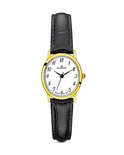 Dugena Damen Armbanduhr Vintage Leder 22x25mm schwarz/gold