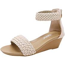 Sandalias de Cuña Tejidas Bohemias Zapatos de Tacón Medio Mujer Dwevkeful con Hebilla Playa Zapatos de