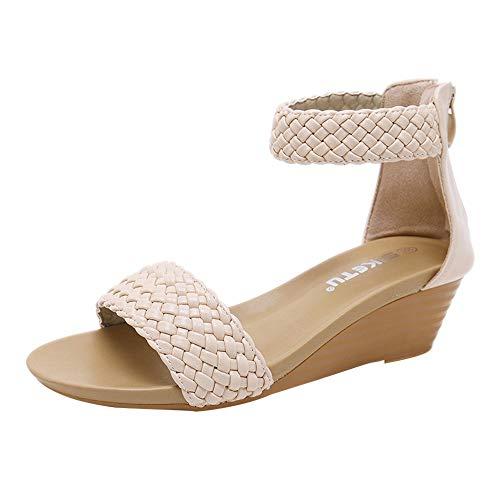 Sandales Femmes,LANSKIRT Sandales Compensées Tissées Bohémiennes Chaussures Tongs Sandales Talons Hauts Bout Ouvert Plate-Forme Mode Été Pente Sandales Mocassins Chaussures
