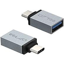 Elzo [ Confezione da 2 ] Adattatori USB C a USB 3.0 Connettore Tipo C a USB A per Connettore Tipo C a USB 3.0 A per Nuovo Apple MacBook Pro 2016., Google Chromebook Pixel Nokia N1, HTC 10, LG G5 E altro ancora (Grigio)