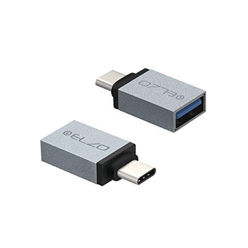 Elzo 2 Pack USB 3.1 Type-C to USB 3.0 OTG Adapter Connector Converter for LG G5, Nexus 5X, Nexus 6P, OnePlus 2, MacBook, ChromeBook Pixel Other Type-C Devices (2 Pack Grigio OTG Adapter)