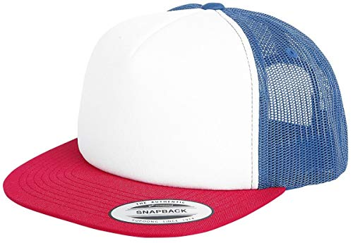 Flexfit Foam Trucker with White Front Cap, red/Wht/Royal, one Size