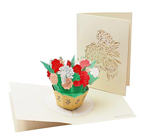 Dankes- und Glückwunsch-Karte mit extra Seite für Grüße, 3-seitige Klapp-Karte zur Gratulation & Danksagung, liebevolle 3D Pop-Up Osterkarte mit Blumen-Strauß