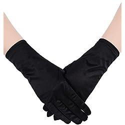 Sumind Guantes de Satén Cortos Guantes de Longitud de Pulsera Guantes de Vestido de Mujeres Guantes de Vestido de Ópera Boda Banquete para Danza Fiesta (Negro)