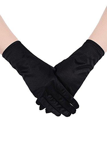 guanti neri donna Sumind Cor to Guanti di Raso Guanto da Polso Lunghezza Guanti Donna Guanti Opera Nozze Banchetto Abito da Ballo per Festa Danza
