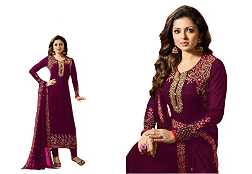 Chery Collection's Women Georgette Semi-Stiched Anarkali Dress Material (CC_505_Wine_Free Size)