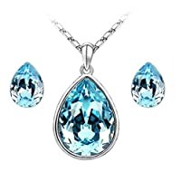 Swarovski Elements 18K White Gold Plated Jewelry Set Encrusted With Blue Swarovski Crystals and Matching Earrings, SWR-415