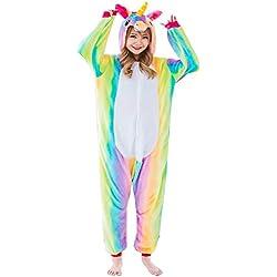 Z-Chen Disfraz de Pijama Animales para Unisex Adulto, Unicornio del arco iris, L (Altura: 170-180cm)