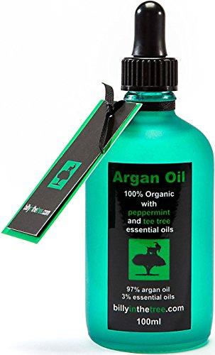 Billy in the Tree - Pure huile d'argan avec huiles essentielles de menthe poivrée et d'arbre a thé - 100% Organique -Pour le visage, le corps, les cheveux - 100ml