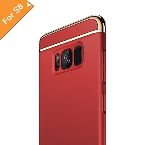 RANVOO Kompatibel mit Samsung Galaxy S8 Hülle, 3-Teilige Styliche Extra Dünne Harte Galaxy S8 Case Schale Anti-Fingerabdruck Bumper Case Handyhülle Schutzhülle, Rot