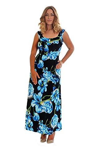 Floral Print Maxi Dress Blue 26-28