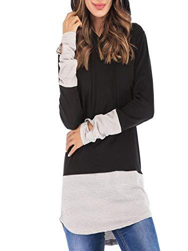 UFACE Pull Pas Cher a la Mode Hiver Sweat à Capuche Femme Grande Taille Pull Femme Chic Automne Tunique Femme Manche Longue Manteau Haut Blouse Sweat Shirt Fille Sport Patchwork Blanc Noir Top