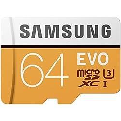 Samsung EVO - Tarjeta de memoria microSD de 64 GB, Clase 10, UHS-I, con adaptador SD