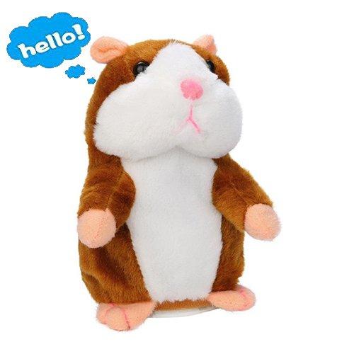 Sprechen Spielzeug Hamster (Lalagofe Plüschhamster Sprechende Hamster Kuscheltier Plüschtier Spielzeug Talking Toy Hamster Adorable interessante Kinder Plüsch Spielzeug 15cm (Khaki))