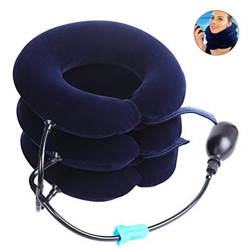 Pretty see collare per trazione cervicale gonfiabile,trazione cervicale gonfiabile dispositivo per testa e collo,3 strati, blu