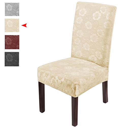 Luollove coprisedia con schienale,coprisedia in velluto elasticizzato con motivo floreale,spandex lavabile coprisedie sala da pranzo(4 pcs-crema)