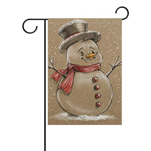 (XiangHeFu Gartenflagge Retro Süße Weihnachten Schneemänner 30,5 x 45,7 cm doppelseitiges Banner für Zuhause Indoor Outdoor Rasen Dekoration, Gesponnenes Polyester, Image 768, 12x18 Inches)