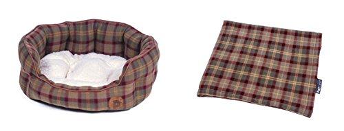 2PCE Luxus Hohe Qualität Tartan Plaid Superweicher Pet Hund Medium Korb Bett & Decke