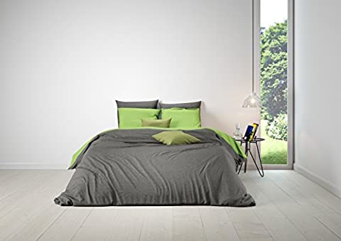 Aminata - hochwertige Wende-Bettwäsche uni 155x220 cm dunkelgrau anthrazit hellgrün Baumwolle Uni-Bettwäsche einfarbig mit Reißverschluss RV grün (155x220 cm 80x80