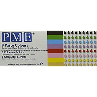 PME Concentrated Paste Colours for Icing, Sugarpaste, Fondant and Much More (Set of 8)