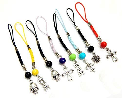 Perlin 10Stk Handyanhänger Handyschmuck für Handy, USB-Stick, MP3, MP4, Mini-Kamera Schlüsselanhänger Taschenanhänger Reissverschlussanhänge mit Metall Anhänger und Makramee Garn Mix Set